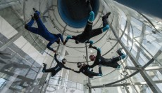 5 Belly flyers in a round formation in this Aerodium powered wind tunnel in Bahrain.