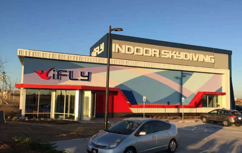 iFLY Oklahoma City (OKC) wind tunnel at sunset