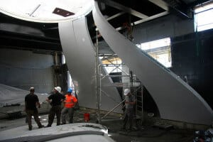 Construction photo showing the pieces of the bell being assembled at iFLY Paris.