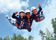 Two kids flying with an instructor at Aerodium Buenos Aires