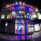The lighting of iFLY VA Beach at night.