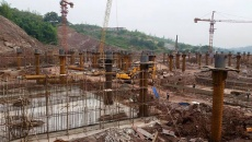 A photo of the construction site where two 14 foot recirculating wind tunnels are being built in Chongqing, China.
