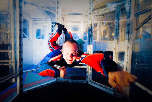 A flyer looking like superman in the Samara Wind Tunnel.
