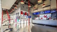 The reception area and gift shop at iFLY Portland.