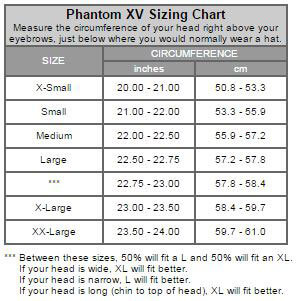 Square One Phantom XV Size Chart