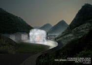 A rendering showing the nighttime appearance for the future Valley of Natural Sound wind tunnel.