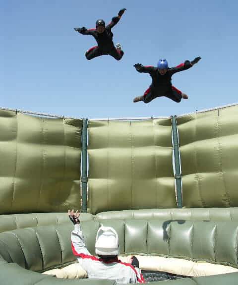 Two military flyers training