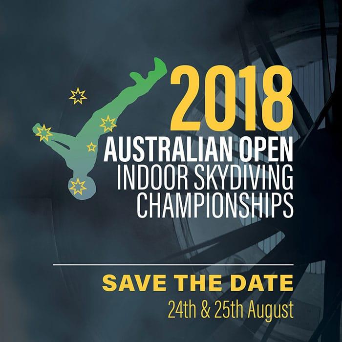 2018 Australian Open Indoor Skydiving Championships Flyer